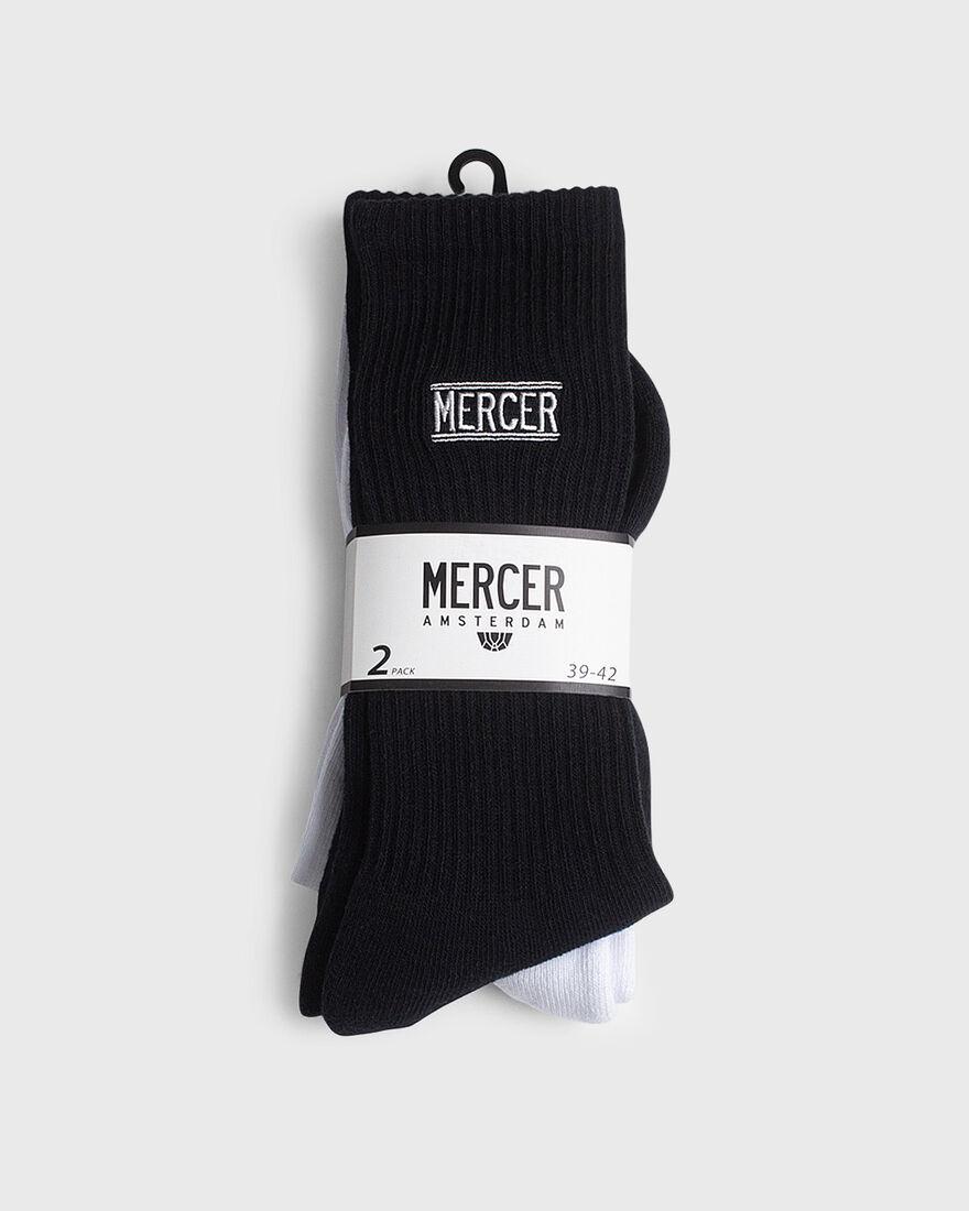 MERCER SOCKS - 2 PACK - COTTON, White/Black, hi-res