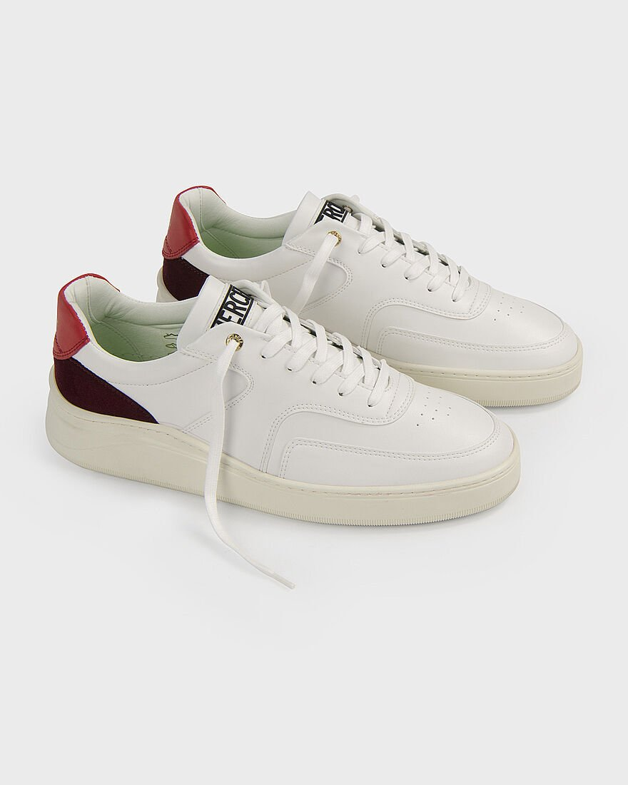 LOWTOP 4.0 - NAPPA / SUEDE - WHITE / RED, White/Red, hi-res
