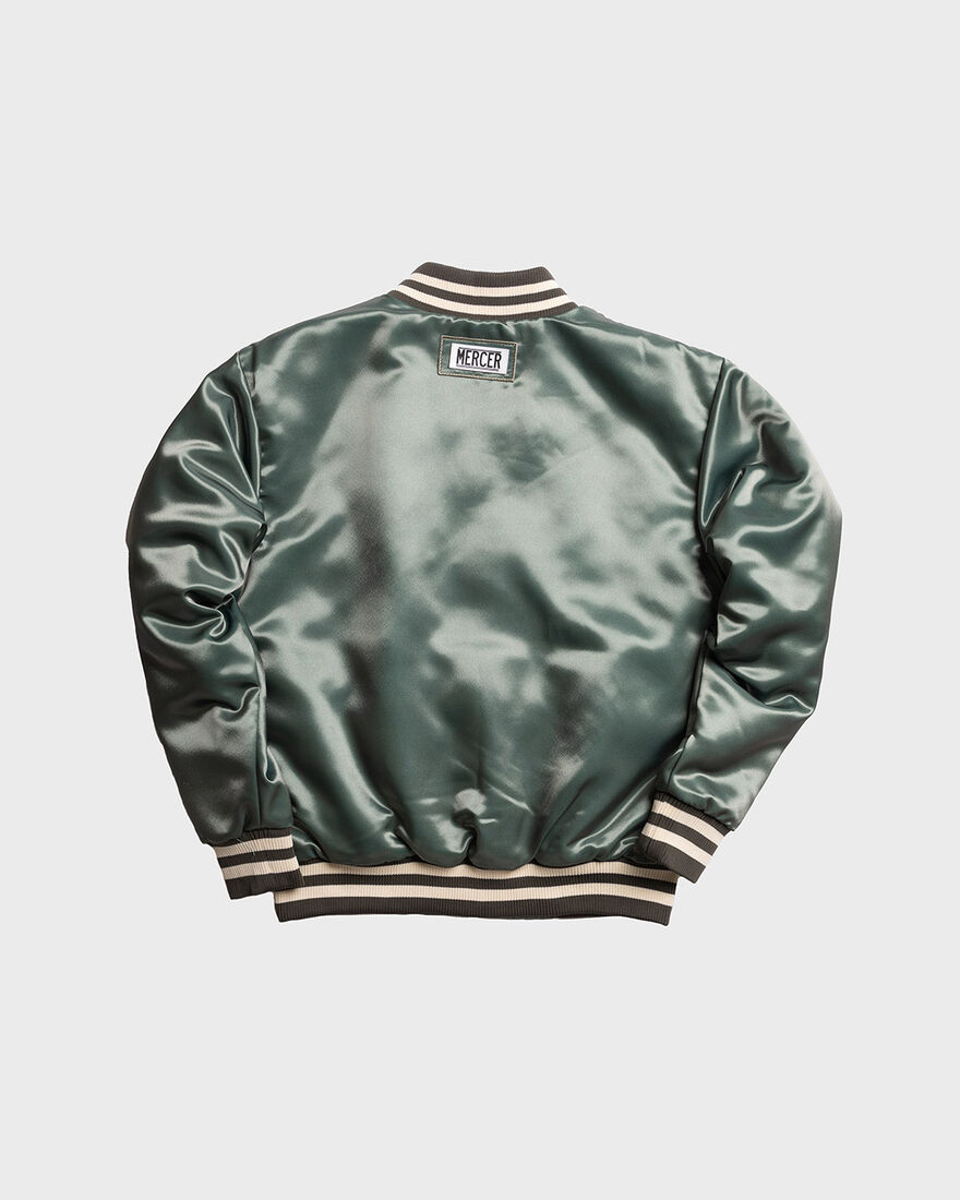 MERCER VARSITY JACKET - SATIN, Army green, hi-res