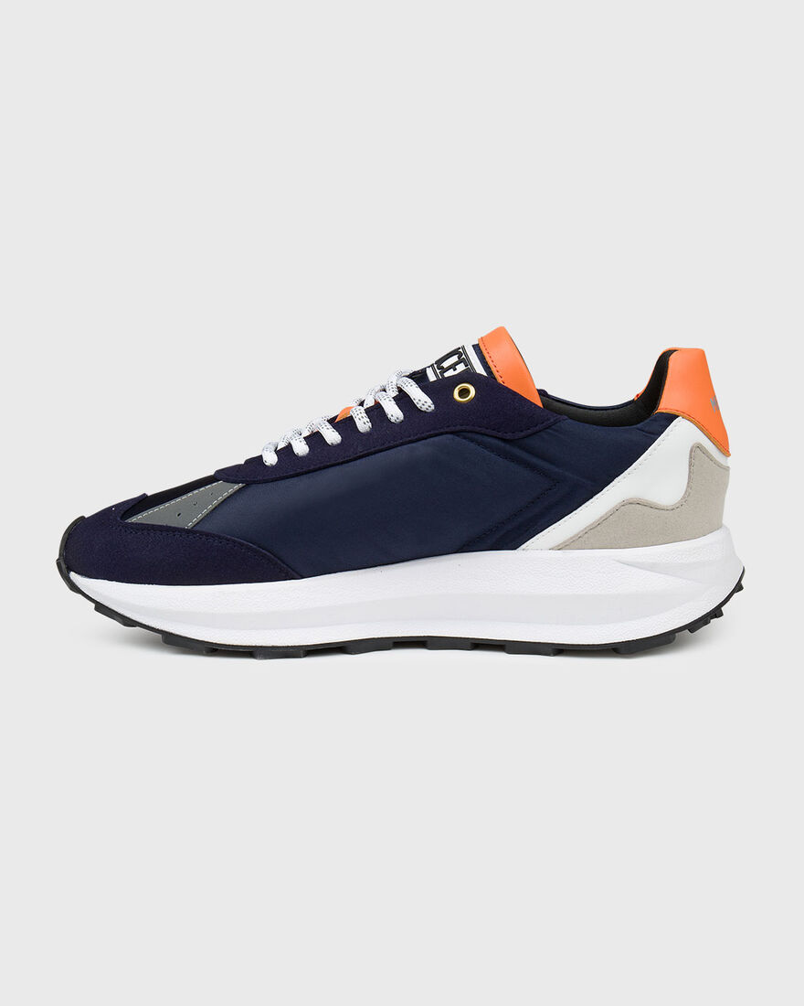 RACER - VEGAN LEATHER / NYLON, Navy, hi-res