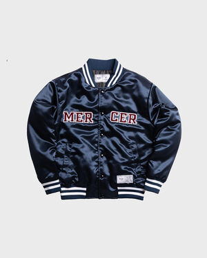 Mercer Varsity Jacket Satin Navy