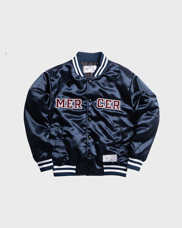 Mercer Varsity Jacket Satin Navy
