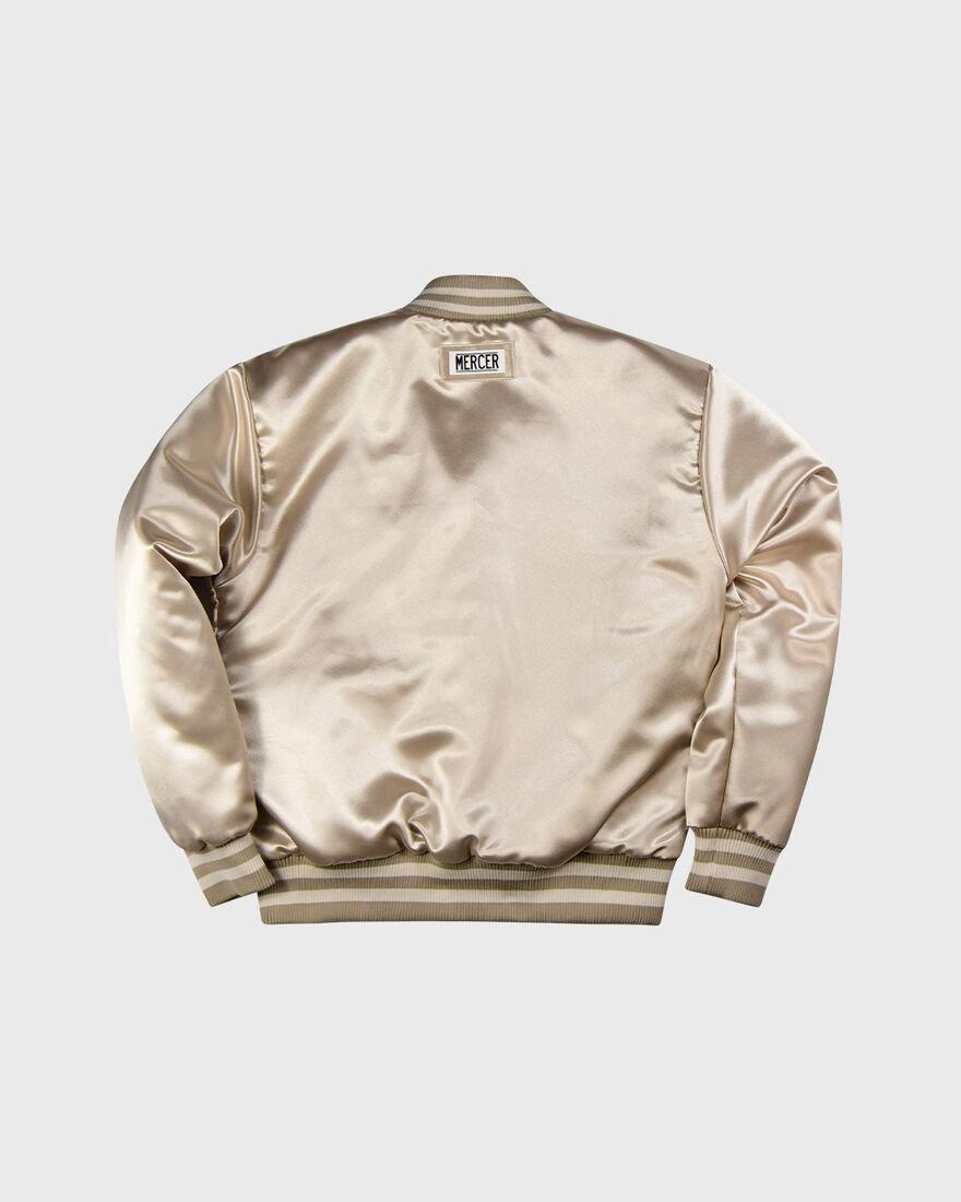 Mercer Varsity Jacket - Baby - Satin, White, hi-res