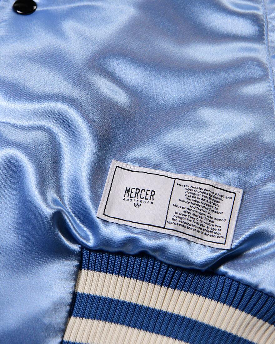 Mercer Varsity Jacket - Baby - Satin, Blue, hi-res