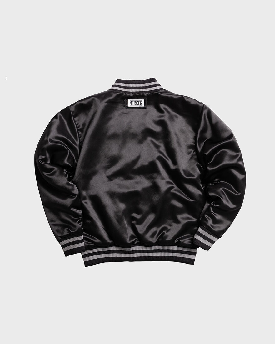 MERCER VARSITY JACKET - SATIN, Black, hi-res